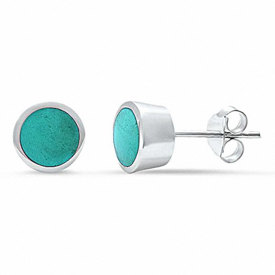 7mm Solitaire Bezel Style Stud Earrings Round Simulated Stone 925 Sterling Silver Choose Color