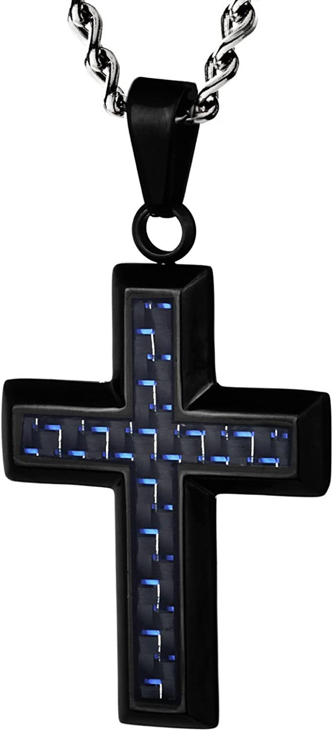 West Coast Jewelry Crucible Black Plated Stainless Steel Black Carbon Fiber Inlay and Screw Accents Cross Pendant