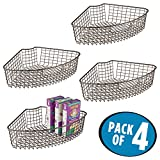 wedge pasta basket - mDesign Lazy Susan Wire Storage Basket with Handle for Kitchen Cabinets, Pantry - Pack of 4, 1/4 Wedge, Bronze