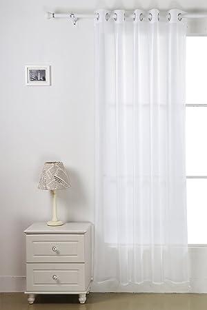Deconovo Rideau Voilage Blanc Uni à Oeillets pour Salon 140x240 cm ...