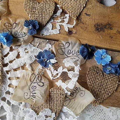 Rustic Wedding Decor, Wedding Decorations for Reception, Bridal Shower, Burlap and Lace Confetti, Centerpieces for Wedding Table, Rustic Flower Petals -