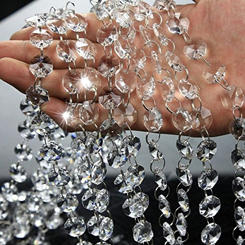 16.5 Feet Clear Crystal Beads Clear Chandelier Bead Lamp Chain for Wedding Party Tree Garlands Decoration, DIY Jewelry Making,and Other DIY Craft Projects (Bead Garland Glass)