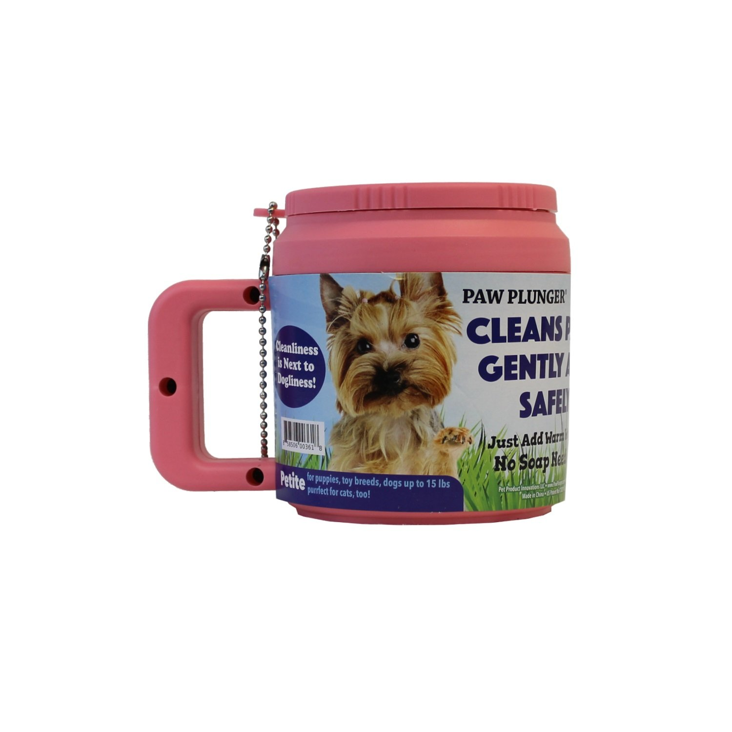 Plunger For Dogs - Portable Paw Cleaner For Small Sized Dogs - Ideal For Dogs Weighing Up To 15lbs - an Easy To Use Device To Save Your Home / Furniture / Carpet / Vehicle From Muddy Paws - Pink