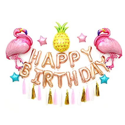 Pink Flamingos Happy Birthday Balloons Set Rose Gold Letter Pineapple Helium Party Hanging Tassel Decoration Banner