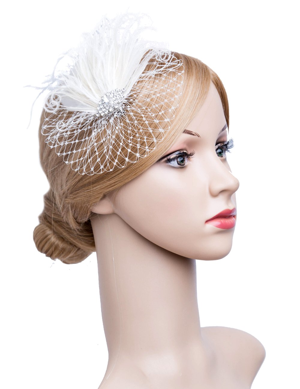 Fascinators 20s Gatsby Flapper Acessories Art Deco Party Accessory Peacock Feather Alligator Clip (Ivory-1)