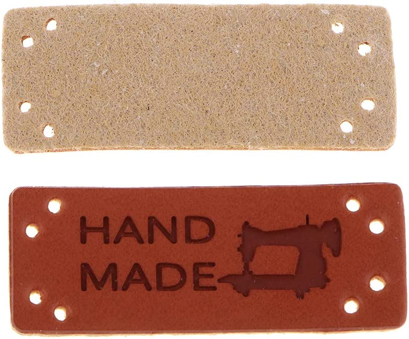 FLAMEER 20pcs Handmade PU-Leder Label Ann/ähen Etiketten Lederetikett Tag Hand Made Kleidung Zubeh/ör 003