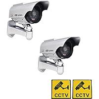 Phot-R 2X à énergie Solaire intérieure Faux Imitation IR extérieur CCTV Clignotant Surveillance caméra de sécurité LED Rouge Clignotant Mini Speed ??Dummy Dome I Autocollant d'avertissement