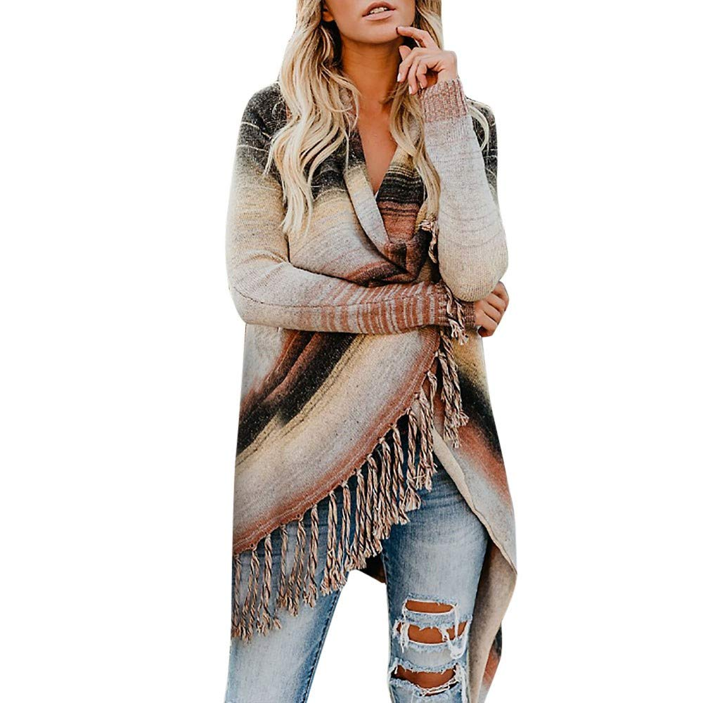 Aurorax Womens Boho Loose Shawl Print Kimono Long Cardigan Chiffon Cover Up Smock Beachwear Plus Size