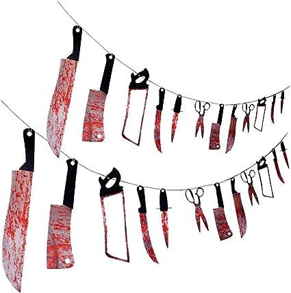 2 x Scary Halloween Garland Decoraions Door Banner Bloody Banner Body Parts