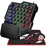 MFTEK Combo de teclado y mouse para juegos de una mano, RGB Rainbow Backlit Teclado mecánico de una mano con soporte para la
