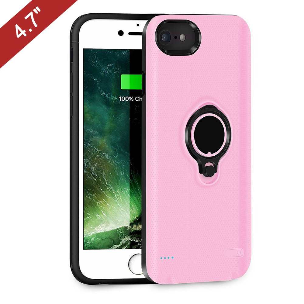 Battery Case Compatible with iPhone 6/6s/7, QueenAcc 2500mAh Portable Battery Charging Case Slim Extended Battery Pack with Kickstand and Support Magnetic Car Mount Holder. (Pink)