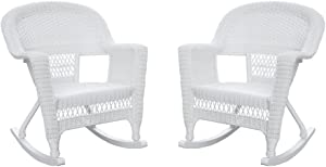 Jeco , Set of 2 Wicker Rocker Chairs, White