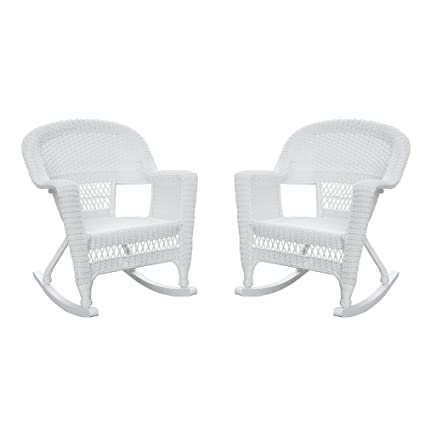 amazon com jeco w00206r b 2 rocker wicker chair set of 2 white