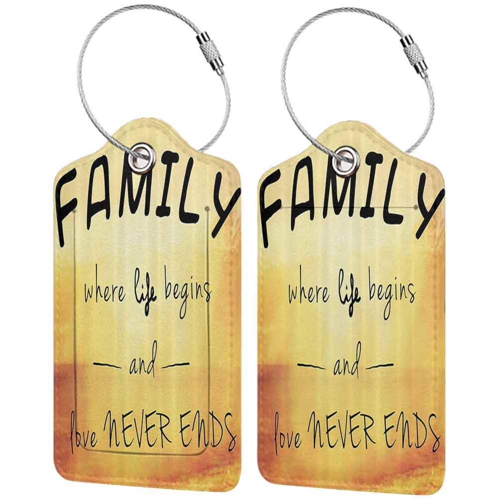 Personalized luggage tag Family Inspiring Message about Family Life and Love on Dreamy Backdrop Wisdom Easy to carry Yellow Marigold Black W2.7 x L4.6