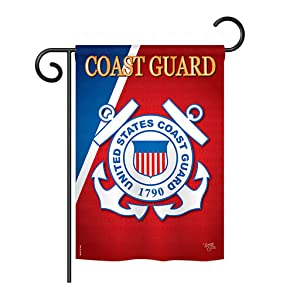 "Breeze Decor G158056 Coast Guard Americana Military Impressions Decorative Vertical Garden Flag 13"" x 18.5"" Printed in USA Multi-Color"