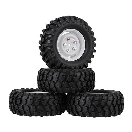 Youzone Los neumáticos de goma Negro Neumáticos y Llantas blancas de plástico con ruedas Tornillos para