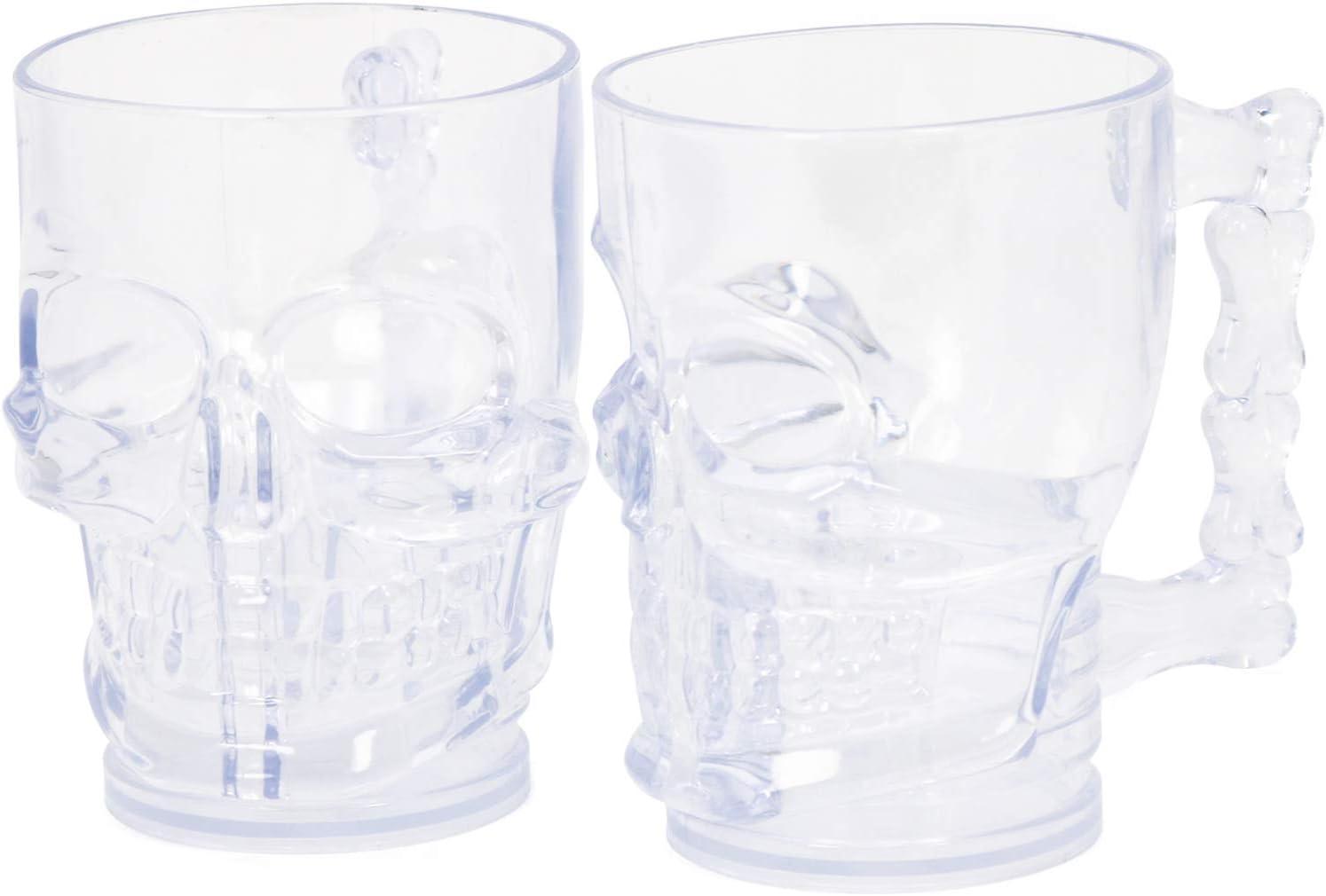 COM-FOUR® 2x Skull Mug - Vaso de plástico resistente para Halloween, cumpleaños o como utensilios de fiesta (2 piezas - taza para beber)