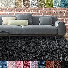 iCustomRug Bella Shag Rug - Luxurious and Thick Black 4 Feet X 6 Feet (4' x 6') Soft & Shaggy Double Textured Fiber For A Modern Home Decor