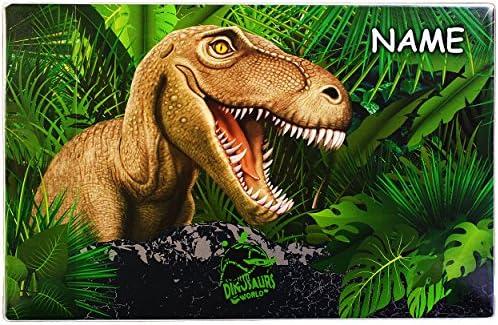 alles-meine.de GmbH Schreibunterlage / Schreibtischunterlage - Dinosaurier T-Rex - incl. Name - 60 cm * 40 cm - PVC Unterlage / Tischunterlage / Knetunterlage / Tyrannosaurus Rex..