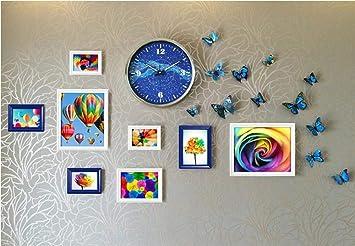 S&H 3D Moderno Reloj de Pared Grande sin Cerco+ Foto Wall, Colores