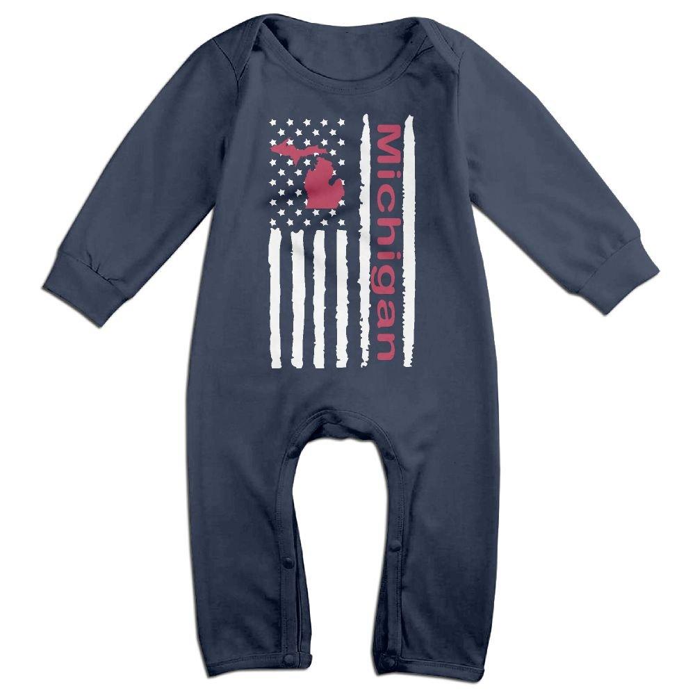 Baby Girls Bodysuits Vintage Michigan State America Flag-1 Infant Long Sleeve Romper Jumpsuit