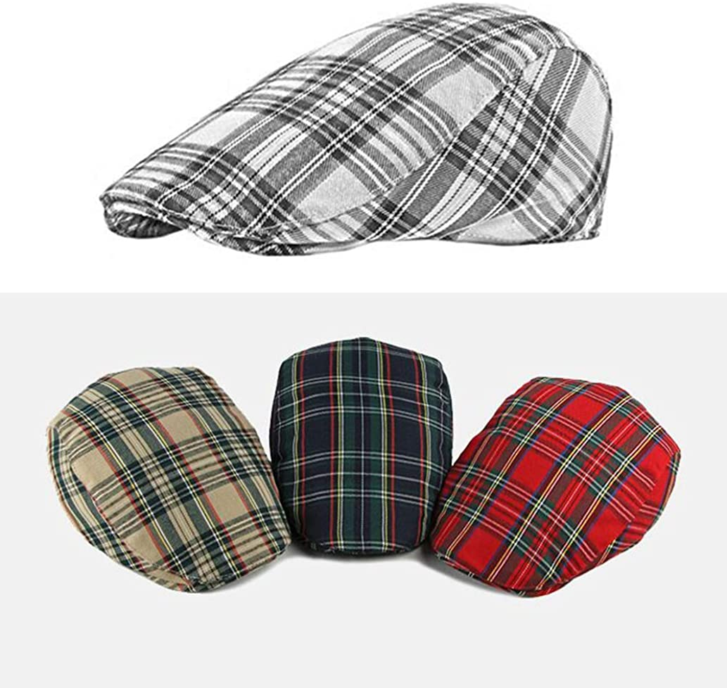 Navy Newsboy Cap Women Plaid British Vintage Flat Beret Caps Female Duckbill Hats Checkered Fashionable Basic