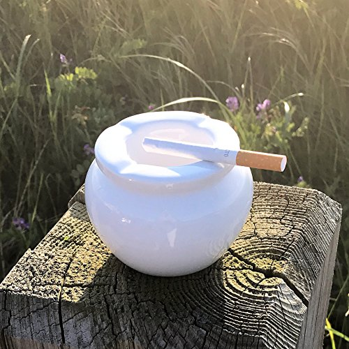 The Summer Time Ash Tray  2 Pieces  Holiday Resort White  Glazed Ceramic  4  Diameter  By Whole House Worlds