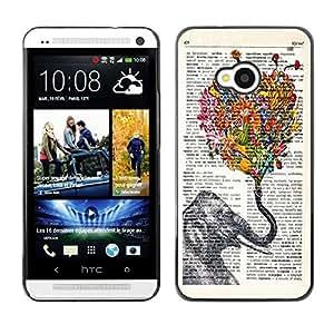Dragon Case - FOR HTC One M7 - elephant and petals - Caja protectora de pl??stico duro de la cubierta Dise?¡Ào Slim Fit