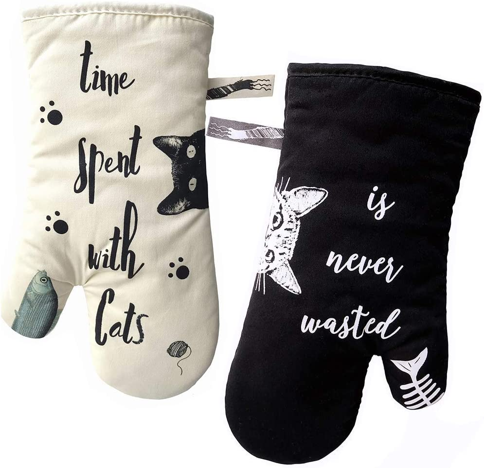 Oven Mitts 100% Cotton Heat Resistant Anti-scalding Thickening Baking Gloves | Cute Cat Unique Design Long Sleeve Microwave Cooking Gloves Perfect for Kitchen/Grilling