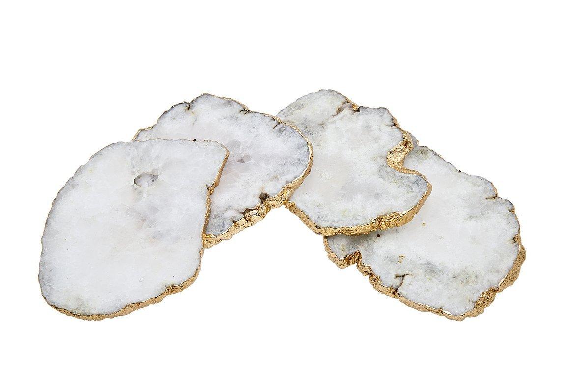 Godinger White Quartz Coasters Brass Edge, Set of 4
