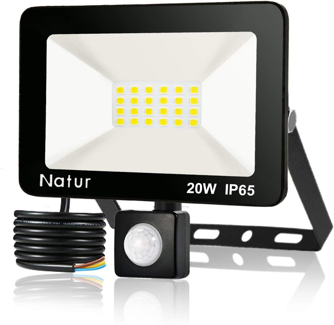 20W Foco LED con Sensor de Movimiento, Proyector Led Exterior Super Brillante 6000K Blanco Frío Foco LED Detector IP65 Impermeable para Jardín, Patio, Garaje [Clase de eficiencia energética A++]
