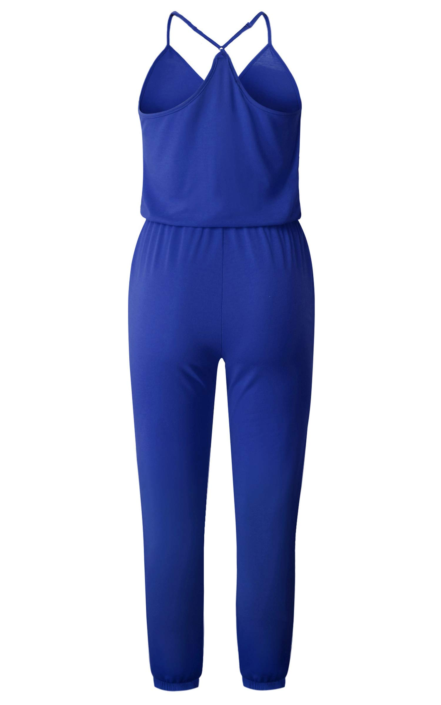 ECOWISH Women's V Neck Spaghetti Strap Drawstring Waisted Long Pants Jumpsuit Rompers Blue M by ECOWISH (Image #4)