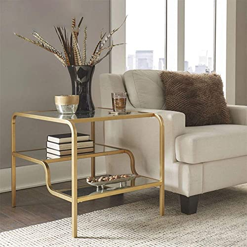 SSLine Accent End Table, Rectangular Glass Tabletop Multi-Tier Organizer Shelves Golden Metal Frame, Bedroom Nightstand, Living Room Sofa Side Table, 28 x 24 x 23