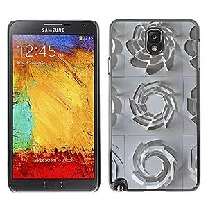 Caucho caso de Shell duro de la cubierta de accesorios de protección BY RAYDREAMMM - Samsung Galaxy Note 3 N9000 N9002 N9005 - 3D Pattern Art White Clean Plastic