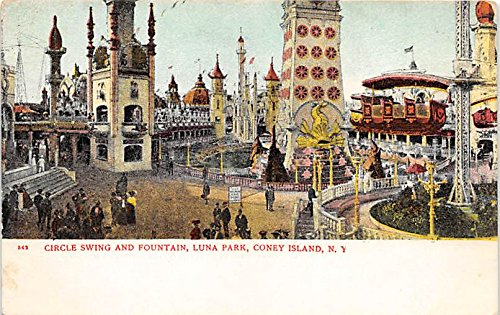 Circle Swing and Fountain, Luna ParkConey Island, New York, NY, USA Postcard Post Card