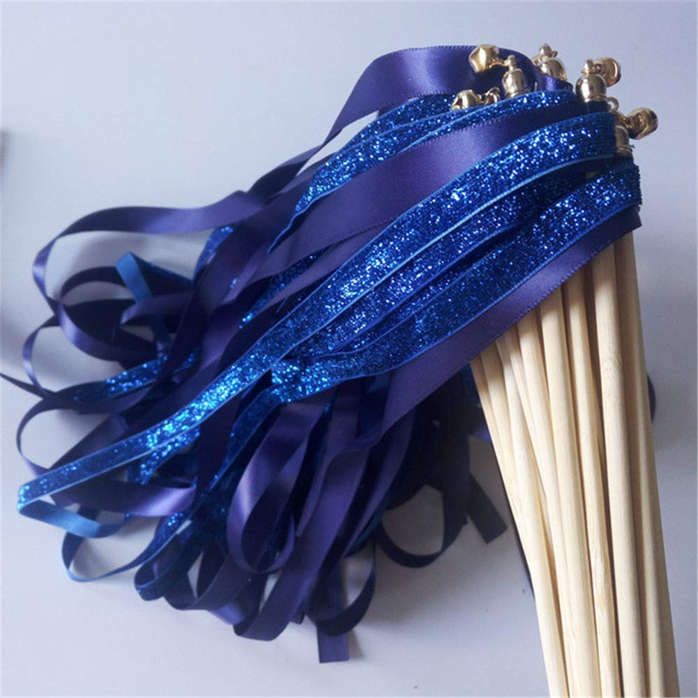 50pcs Royal Blue Glitter Wedding Satin Ribbon Wands with Bell Twirling Streamers Party Decorative Ribbon Stick