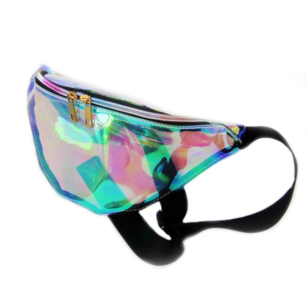Softmusic Women Fashion Reflective Waist Pack Translucent Shoulder Crossbody Bag Pouch