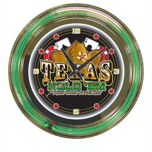 Deluxe Texas Holdem Poker Themed Neon Wall Clock - Large 14 Inch Diameter! (Deluxe Poker Texas Table)