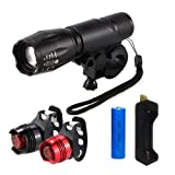 Bike light Set, BREEZO Super Bright LED Bike Lights, Mountain Bike Light, CREE XML-T6, Headlight & 2 Taillight, Zoomable, 900LM, 7 Light Modes Headlights with Bike Light Holder, Waterproof, for Cycling, Camping, Outdoor Sports and Daily Use