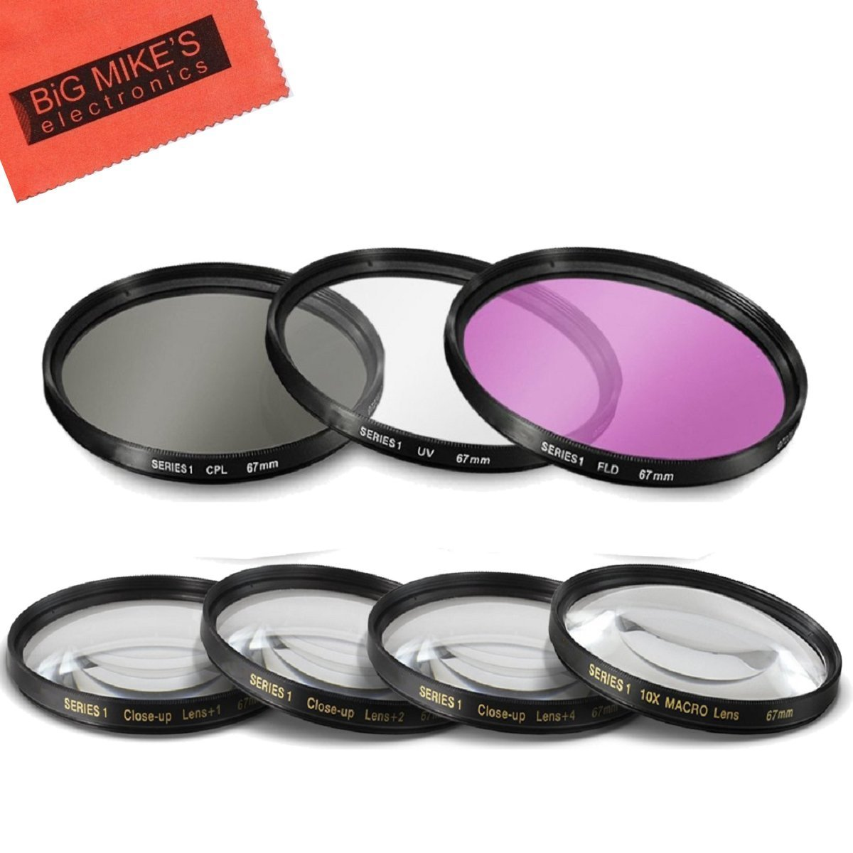 67mm Multi-Coated 7 Piece Filter Set Includes 3 PC Filter Kit (UV-CPL-FLD-) And 4 PC Close Up Filter Set (+1+2+4+10) for Nikon CoolPix P900 Digital Camera