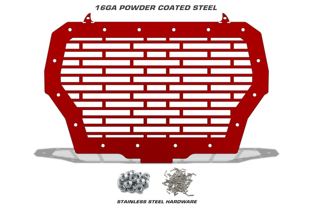 BRICKS 300 Industries Full Replacement Steel Grille for 2017-2018 RZR 1000 XP Turbo MADE IN USA Single Piece Powder Coated RZR Red UTV Grill