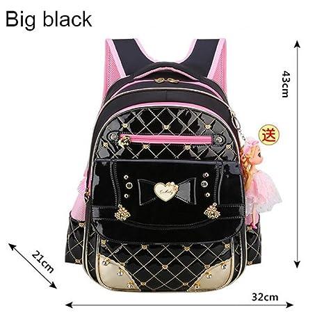 Inkday Cute Bow Princess Children School Bags Orthopedic Waterproof Backpack Mochila Big black