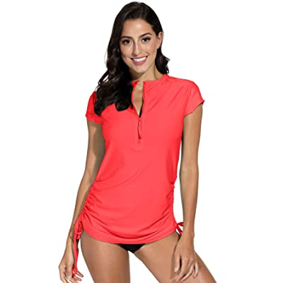 BesserBay Women's UV Sun Protection 1/4 Zip Short Sleeve Rash Guard Swimsuit Top at Women's Clothing store