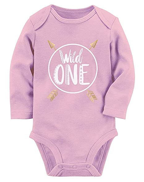 Amazon Wild One Baby Boys Girls 1st Birthday Gifts Year Old Long Sleeve Bodysuit Pink Clothing