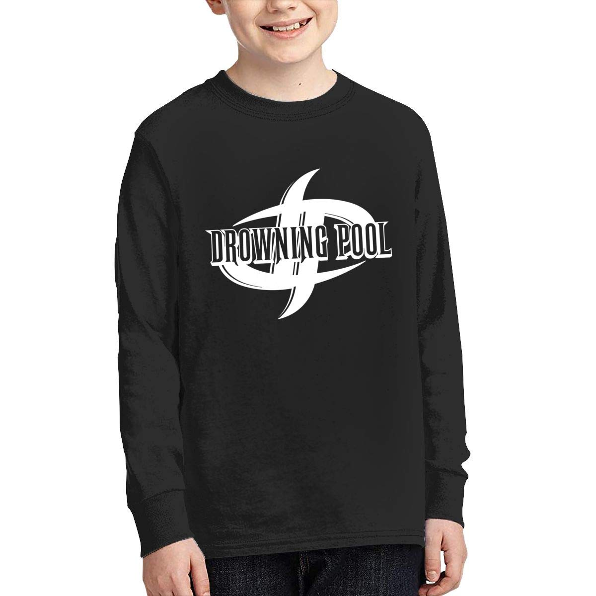 MichaelHazzard Drowning Pool Logo Youth Soft Long Sleeve Crewneck Tee T-Shirt for Boys and Girls