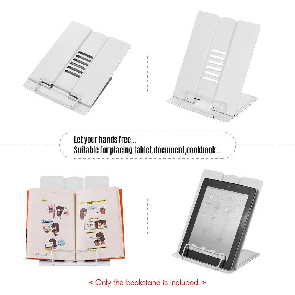 Libros de M/úsica Libros de Texto Soporte para Lectura de Libros de Cocina con 6 /ángulos Ajustables y Clip de Papel Estantes de Exhibici/ón de Metal para Recetas Documentos