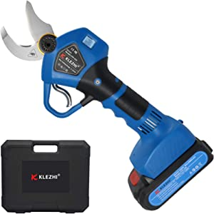 K KLEZHI Professional Sharp Cordless Electric Pruning Shears with Screen, 2 Backup Rechargeable 2Ah Lithium Battery Powered Tree Branch Trimmers Pruner, 1.2In 30mm Cutting Diameter 6-8 Working Hours