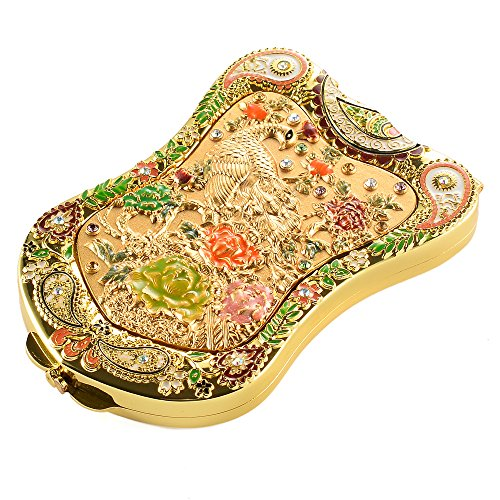 Jinvun Antique-Like Gold Peacock Compact Mirror: Durable Travel Purse Makeup Mirror With Luxury Vintage Design, Shield Shape, Magnification & Clear Reflection-Unique Jewellery Gift ()