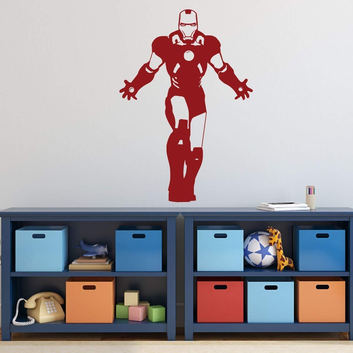 Personalized ironman wall decor avengers superhero silhouette with custom name vinyl decal stickers for birthday party decorations or boy bedroom dark