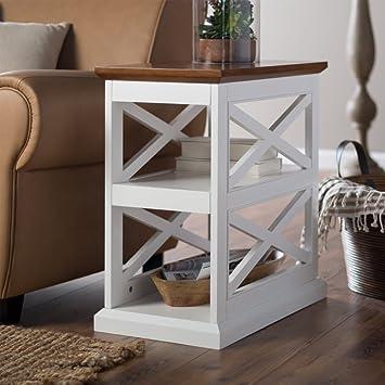 Amazon.com: Belham Living Hampton Chair Side Table - White/Oak ...
